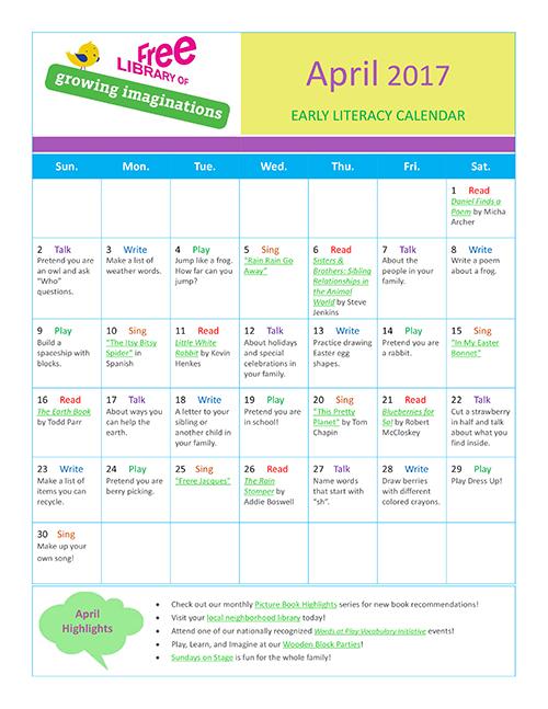 Early Literacy Calendar April 2017
