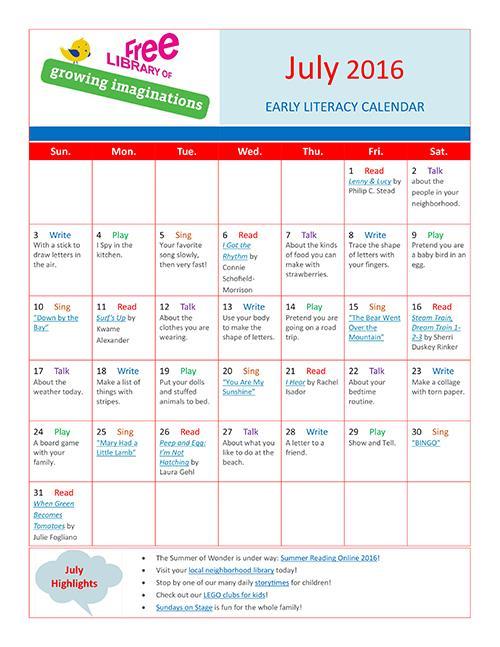 Early Literacy Calendar July 2016