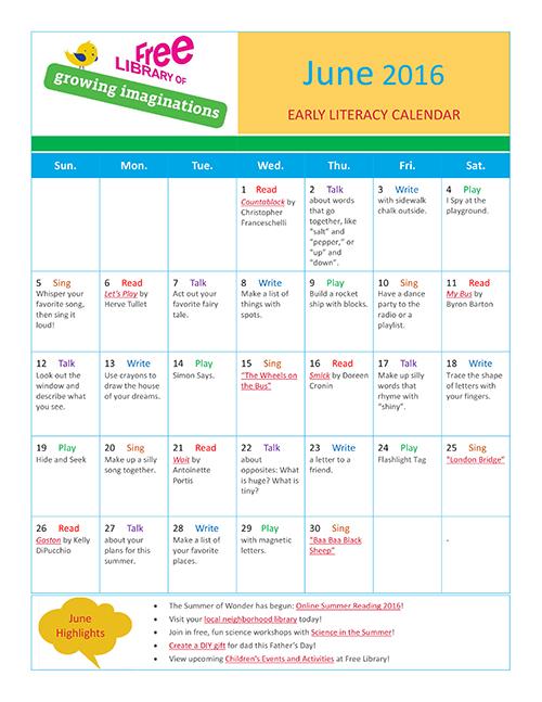 Early Literacy Calendar June 2016
