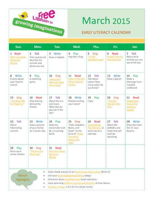 Early Literacy Calendar March 2015