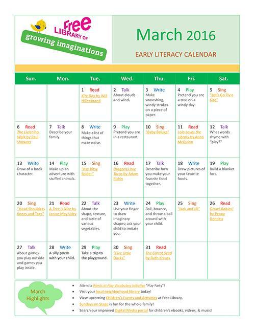 Early Literacy Calendar March 2016