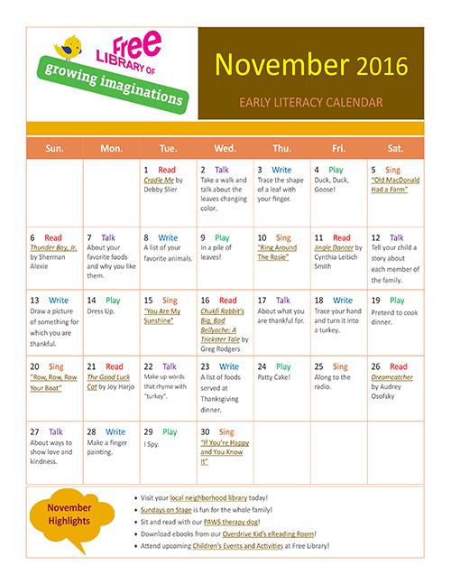 Early Literacy Calendar November 2016
