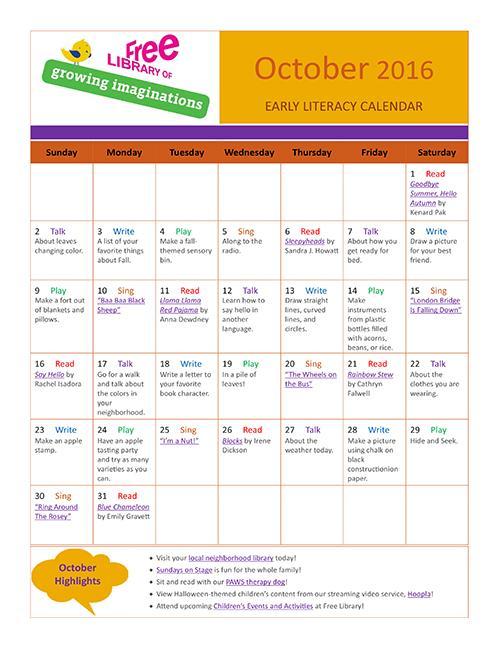 Early Literacy Calendar October 2016