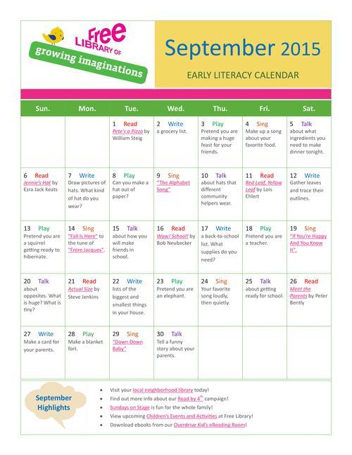 Early Literacy Calendar September 2015