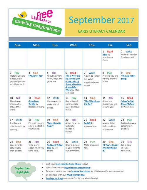 Early Literacy Calendar September 2017
