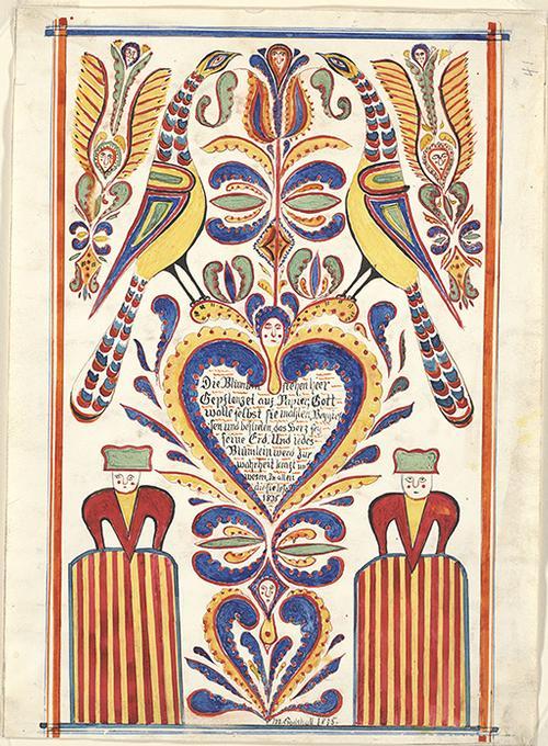 John D. Souder's Rendering of a Samuel Gottschall Fraktur Free Library of Philadelphia