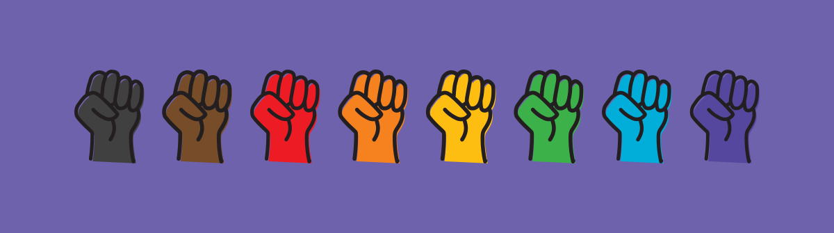 Eight fists set each in a color from the Philadelphia Pride flag