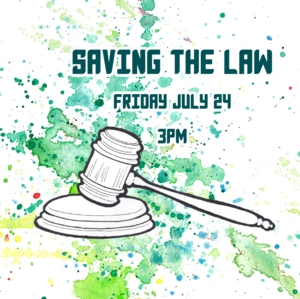 graphic promoting the event featuring an illustration of gavel