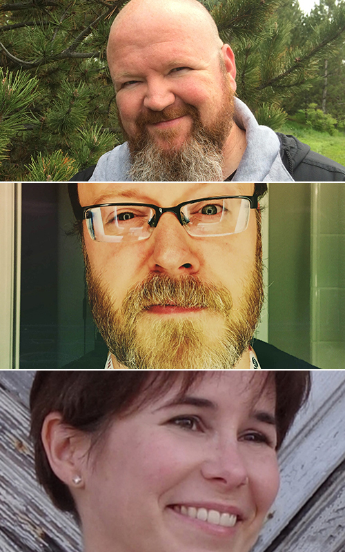 Kevin Hearne with Chuck Wendig and Fran Wilde