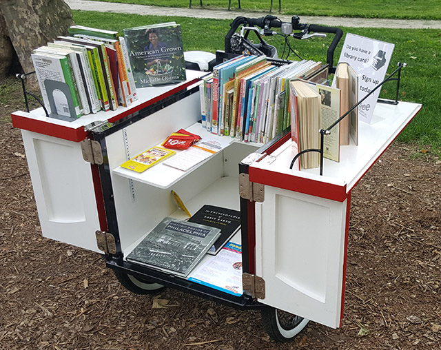 Book Bike open showing books