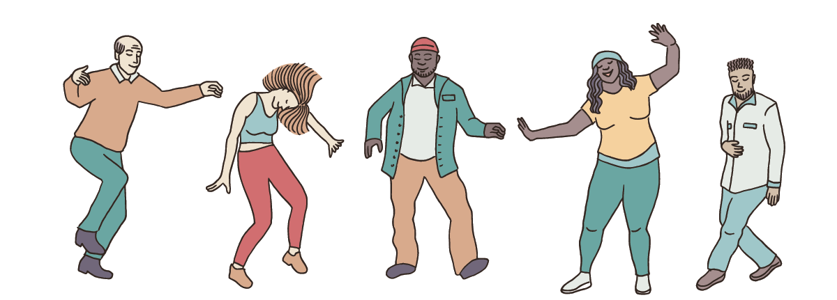Five illustrated adults dancing