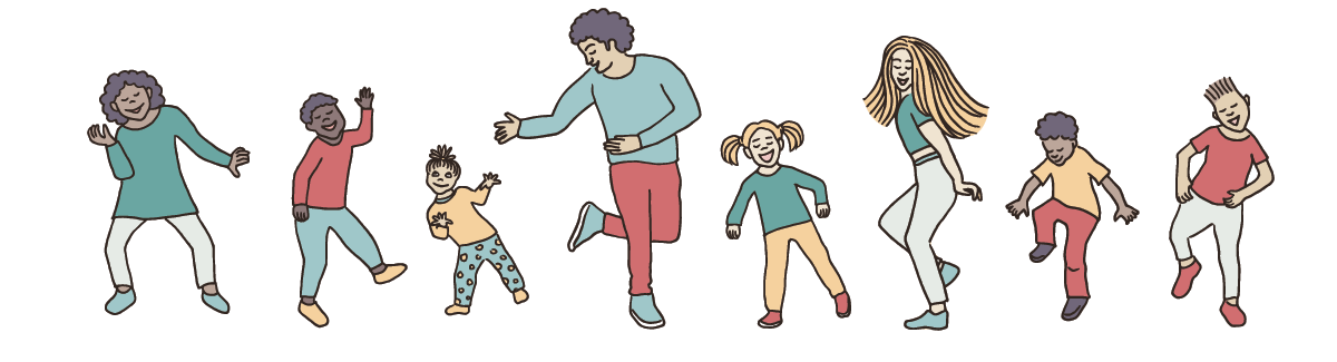 Eight illustrated children and adults dancing