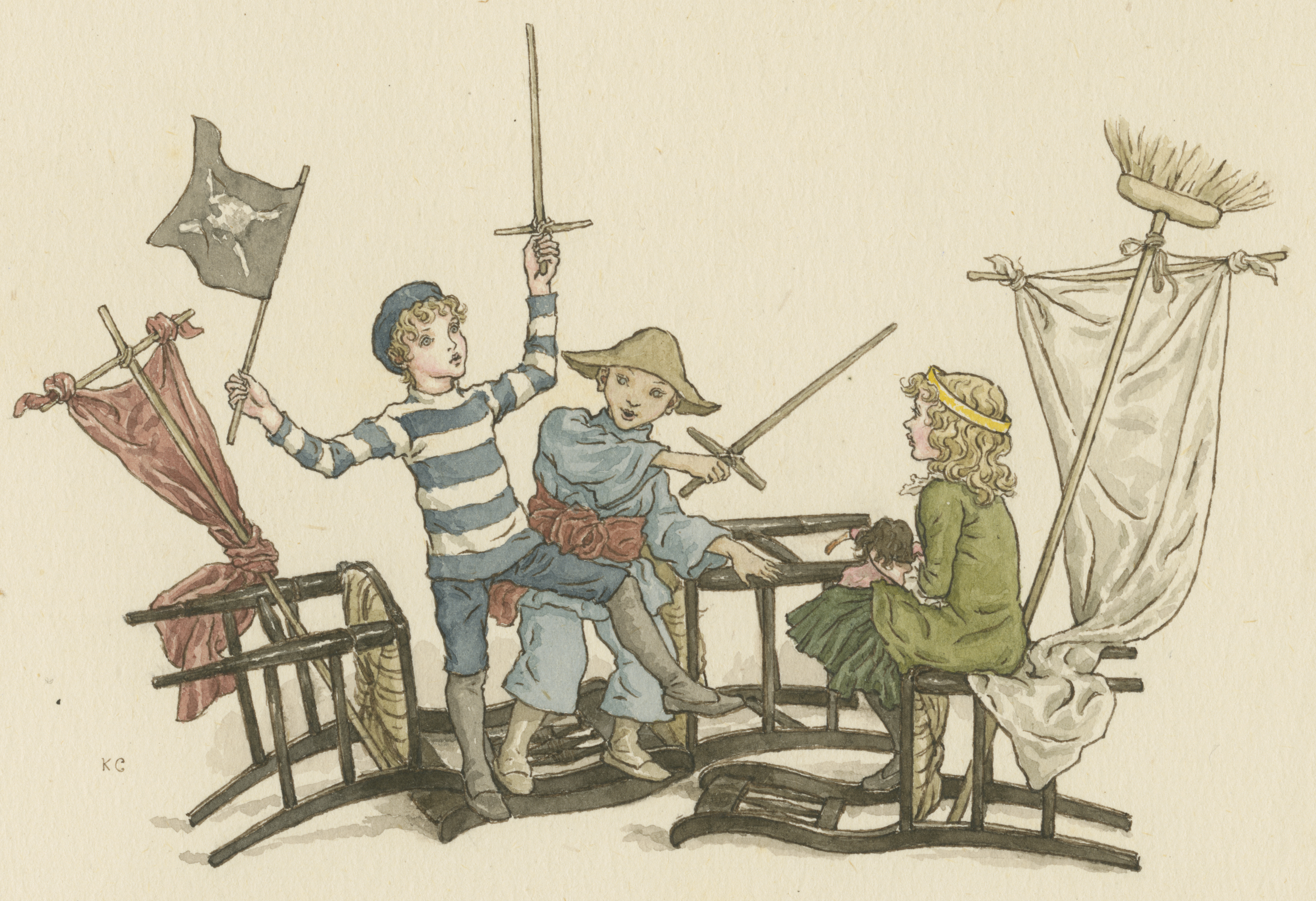 Watercolor signed KG. Capture of a merchantman, from The Queen of the Pirate Isle, by Bret Harte, illustrated by Kate Greenaway, ca. 1886.