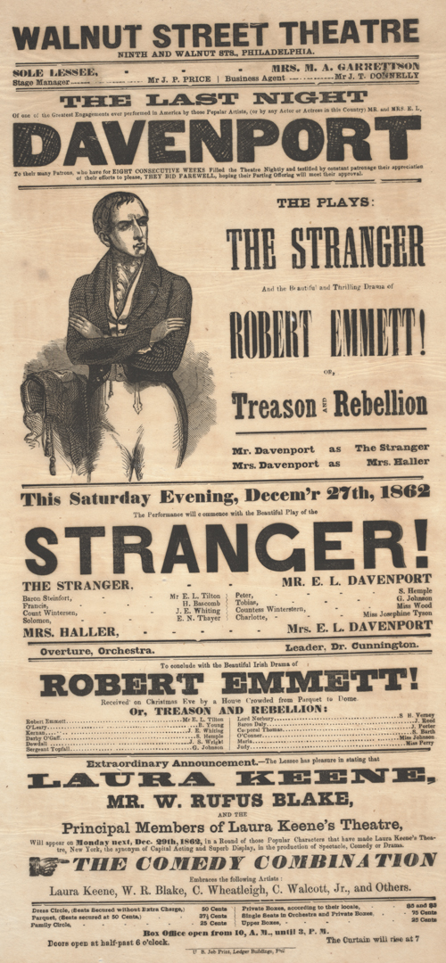 Playbill for the Walnut Street Theatre's December 27, 1862 performance of The Stranger, starring E.L. Davenport and his wife, and Robert Emmett: or, Treason and Rebellion