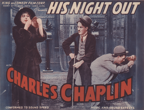 Lobby card for the 1940 reissue of the 1915 film A Night Out, renamed His Night Out, featuring Charlie Chaplin and Edna Purviance