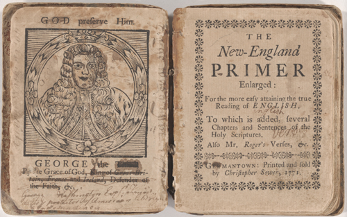 The New England Primer Enlarged, Germantown, PA: 1771. This image shows the frontispiece of the book, featuring a woodcut of King George III of England.  It has been changed to George Washington by the book's owner. RBD ROS 69