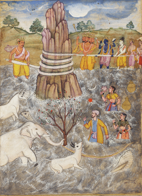 The Gods and Asuras Churn the Ocean of Milk. Page from a dispersed Razmnama (Book of War),1598–1599. Northern India, Mughal court. Free Library of Philadelphia Oriental Manuscript Leaves M15.