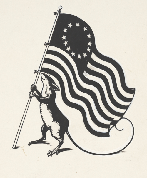 Robert Lawson. Unpublished illustration of a mouse with a flag, for Ben and Me, ca. 1939.