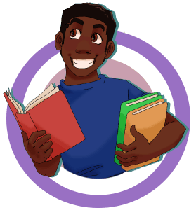 An illustration of a young man holding books