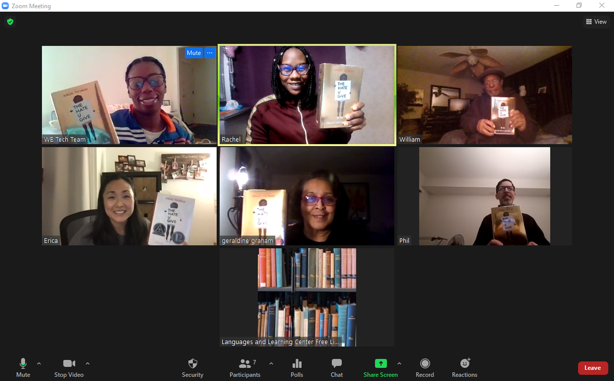 Adult Literacy Book Club members on Zoom meeting