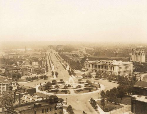 Aerial view of the Parkway, Free Library, and Art Museum, 1929.