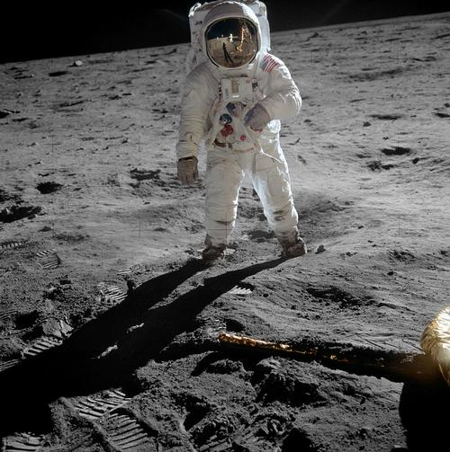 Astronaut Buzz Aldrin on the Moon, July 20, 1969.