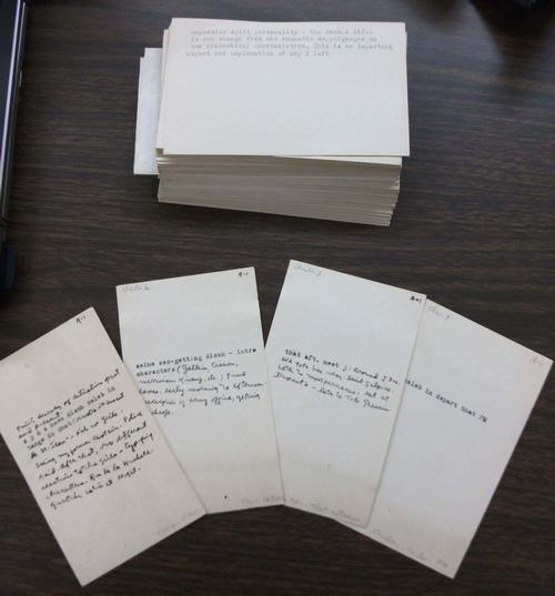 Mysterious index cards in the Lloyd Alexander papers