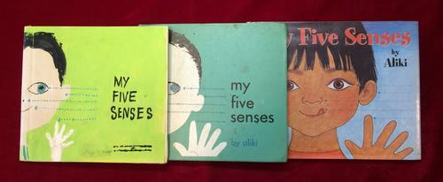 The dummy book (R), the original 1962 publication (C), and the 1989 reillustrated edition of My Five Senses