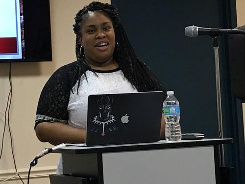 Keynot speaker and author Angie Thomas at the second annual Social Justice Symposium for Teens at Philadelphia City Institute, Saturday, August 12, 2017