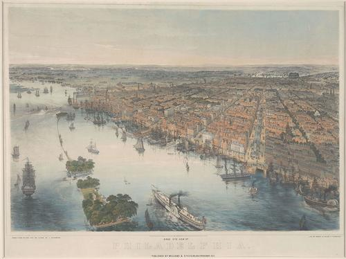Bird's Eye View of Philadelphia Drawn from Nature and on Stone by J. Bachmann, ca. 1850, Rare Book Department, item AMER018501