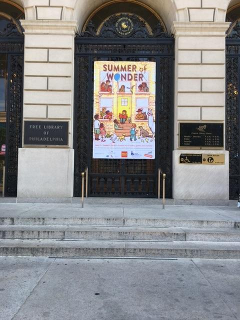 2016 Summer Reading - Summer of Wonder banner, hanging outside of Parkway Central Library. Artwork by Lauren Castillo.