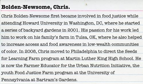 Chris Bolden-Newsome, Food Justice Activist