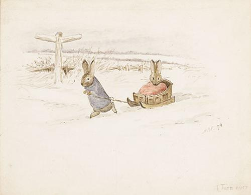 Bunnies in the Snow, watercolor, 1894