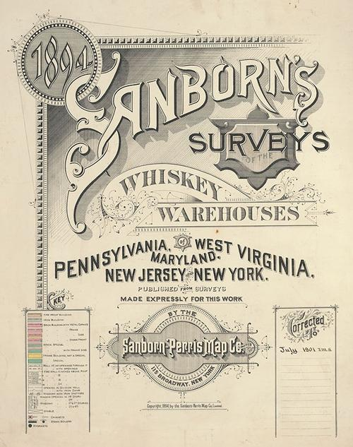 The title page the Sanborn's Surveys of Whiskey Warehouses, now on display in Our Five Senses