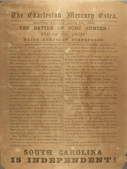The front page of the Charleston Mercury on April 13, 1861, announcing the secession of South Carolina