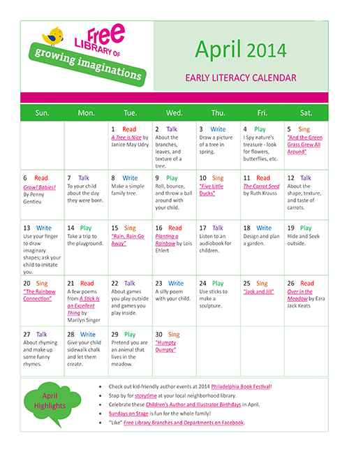 Early Literacy Calendar April 2014