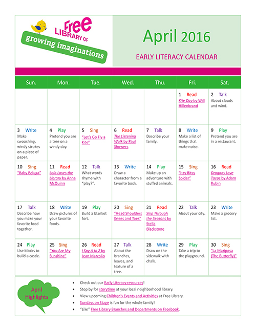 Early Literacy Calendar April 2016