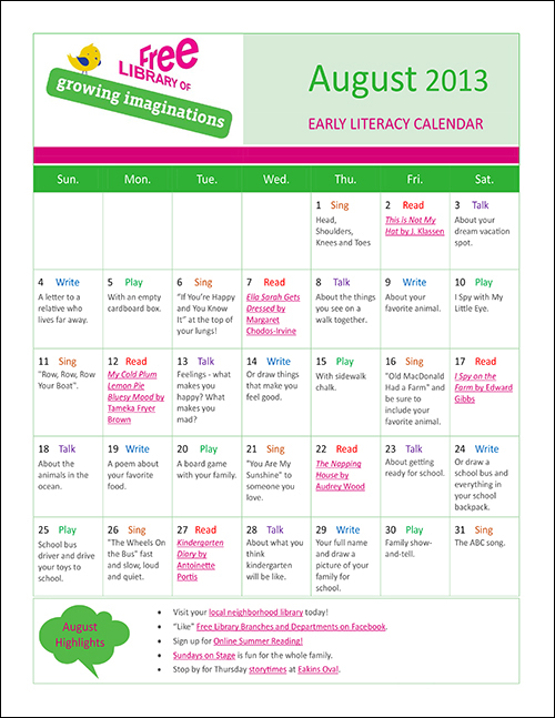 Early Literacy Calendar August 2013