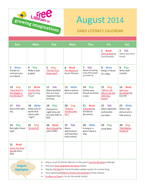 Early Literacy Calendar August 2014