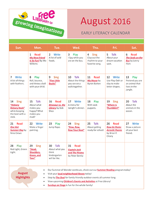 Early Literacy Calendar August 2016