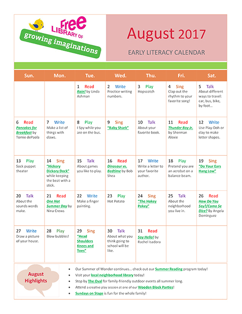 Early Literacy Calendar August 2017
