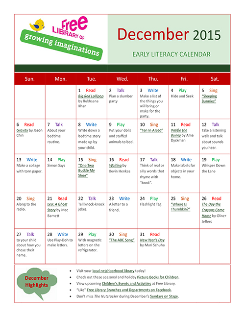 Early Literacy Calendar December 2015