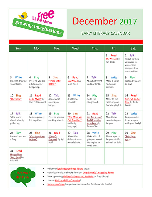 Early Literacy Calendar December 2017