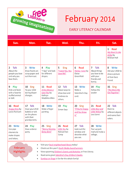 Early Literacy Calendar February 2014