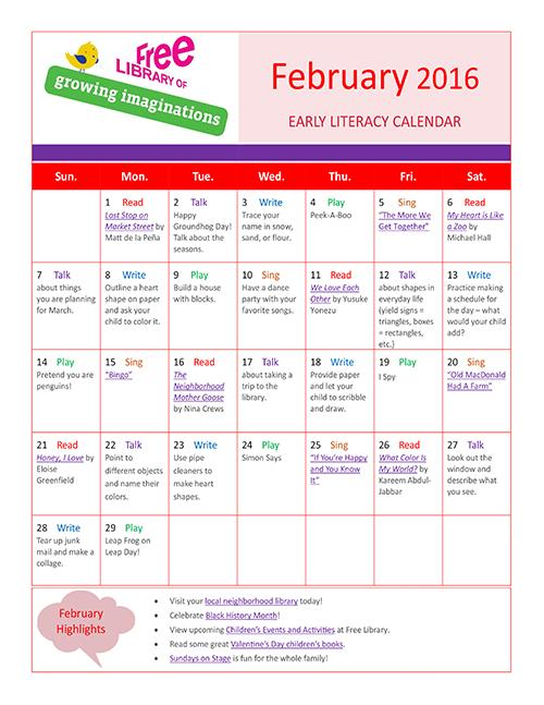 Early Literacy Calendar February 2016