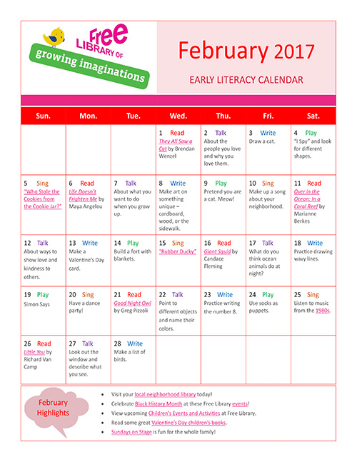 Early Literacy Calendar February 2017
