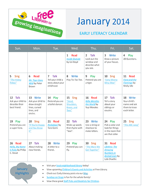 Early Literacy Calendar January 2014