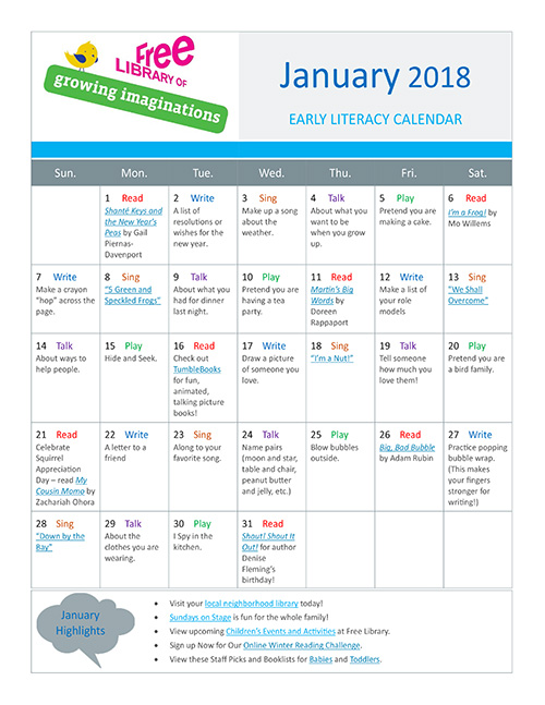 Early Literacy Calendar January 2018
