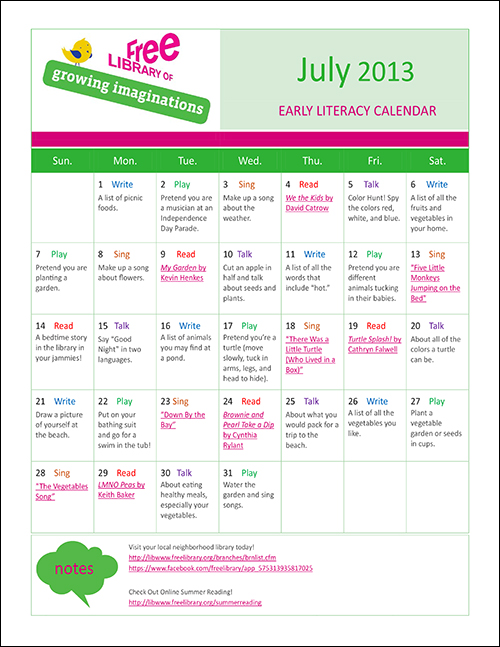 Early Literacy Calendar July 2013