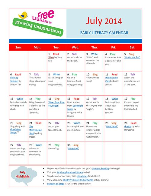 Early Literacy Calendar July 2014